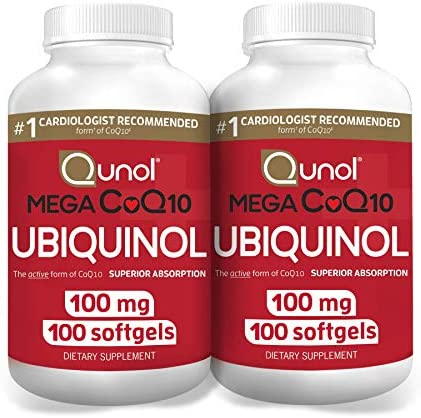 Qunol Mega Ubiquinol CoQ10 100mg Superior Absorption Patented Water and Fat Soluble Form of product image