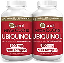 Qunol Mega Ubiquinol CoQ10 100mg, Superior Absorption, Patented Water and Fat Soluble Form of Coenzyme Q10, Natural Supplement Antioxidant for Heart Health, 100 Count, Pack of 2 (11211-SEG100)