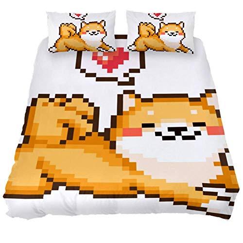 Mapotofux 100% Washed Microfiber 3pcs Bedding Duvet Cover Set - Lightweight and Soft,Comforter Cover,Dog Pixel Art,Queen