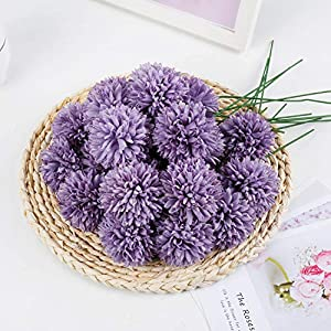 LIVILAN Fake Purple Silk Flowers 25pcs Chrysanthemum Ball Artificial Hydrangea Flowers DIY Bridesmaid Bouquet for Home Party Office Coffee Shop Decor