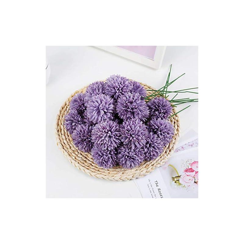 silk flower arrangements livilan fakepurplesilk flowers 25pcs chrysanthemum ball artificial hydrangea flowers diy bridesmaid bouquet for homepartyoffice coffee shop decor
