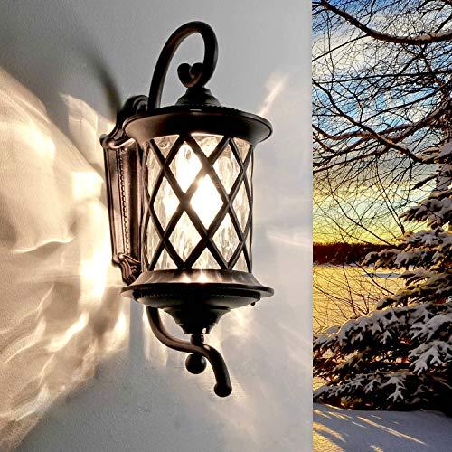 Elegante Außenwandleuchte in Antik / Aluminium, Glas E27 max. 60 Watt Terrassenleuchte Wandleuchte Wandlampe Gartenlampe