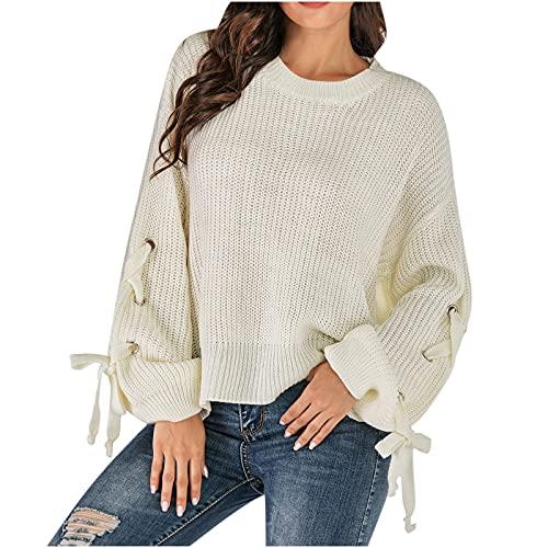 RFNIU Womens Plus Size Sweater Fall White Bilateral Split Knit Pullover Sweaters Bandage Lantern Sleeve Blouses Tops