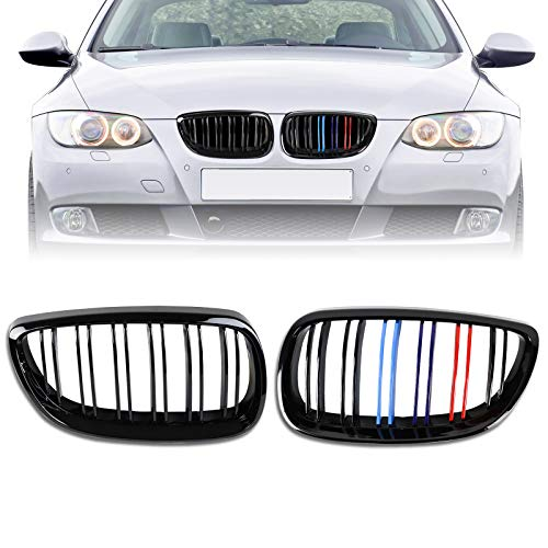 DSISIMO Glossy Black ABS Double Slats Front Bumper Kidney Grille Grill Compatible For 2006-2010 BMW 3 Series E92 E93 328i 328xi 335i 335xi M3 2-Door