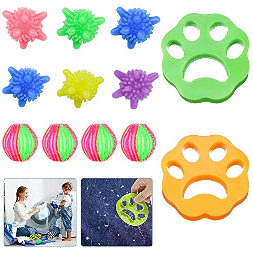 Anti Poil Machine à Laver, ALOhaLi 12 PCS Cheveux Animaux Nettoyage Outil pour Machine à Laver, pour Nettoyer Poils d'animaux Domestiques/Cheveux/Débris Coton