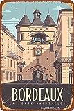 Bordeaux La Porte Saint-Eloi Cartel de letrero de metal, placa retro, arte, aspecto vintage, decoración de pared, bar, pub, café, hombre, cueva, 8 × 12 pulgadas