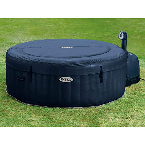 Intex 28405E PureSpa 4 Person Home Outdoor Inflatable Portable Heated Round Hot Tub Spa 58-inch x 28-inch with 120 Bubble Jets, Built in Heat Pump, and Soft Foam Headrest