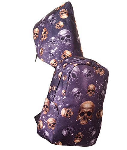 Banned Rucksack mit Kapuze - Skulls and Stars mit Laptop-Fach