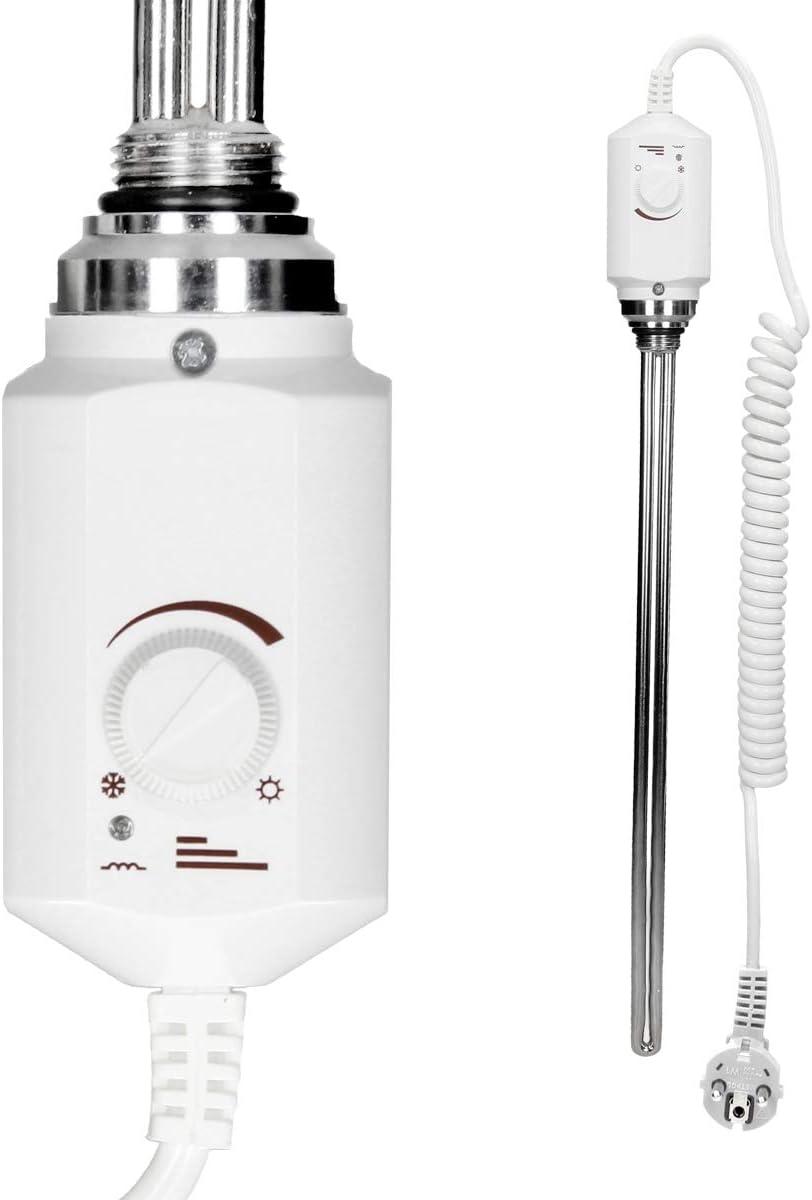 500 x 1100 mm Chrom Heizk/örper Handtuchw/ärmer Handtuchtrockner ECD Germany Badheizk/örper Elektrisch mit Heizstab 600W gebogen mit Seitenanschluss