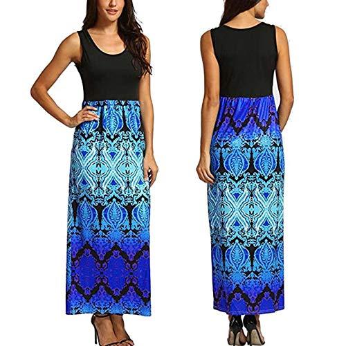 Summer Dress for Women Sleeveless Long Dresses Floral Print O-Neck Sleeveless Splicing Casual Vest Beach Dress(L,Blue)