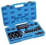 Extractor de inyectores para coche con martillo deslizante compatible con common rail, Bosch, Denso, Delphi y Siemens, 14 piezas