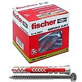Fischer 538247 10 Tasselli Lunghi Duopower con Vite 10 x 80 mm Universali, per Il Fissaggio di Mensole, Pensili, Staffe Porta TV su Muro e Cartongesso, Grigio/Rosso, 10 x 80