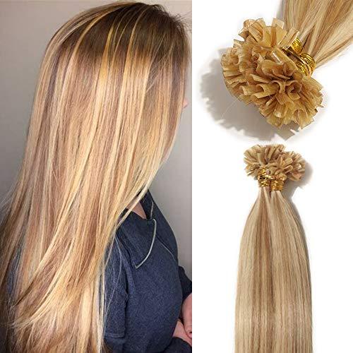 TESS Extensions Echthaar Bondings 1g 100% Remy Haarverlängerung 50 Strähnen Keratin Human Hair 50g/40cm(#12/613 Hellbraun/Hell-Lichtblond)