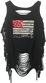 pujingge Womens Punk Ripped Backless Shirt Loose Print Vest Tank Tops