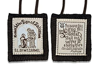 VGI Official Our Lady of Mount Carmel Brown Scapular - 100% Wool!  1-Pack