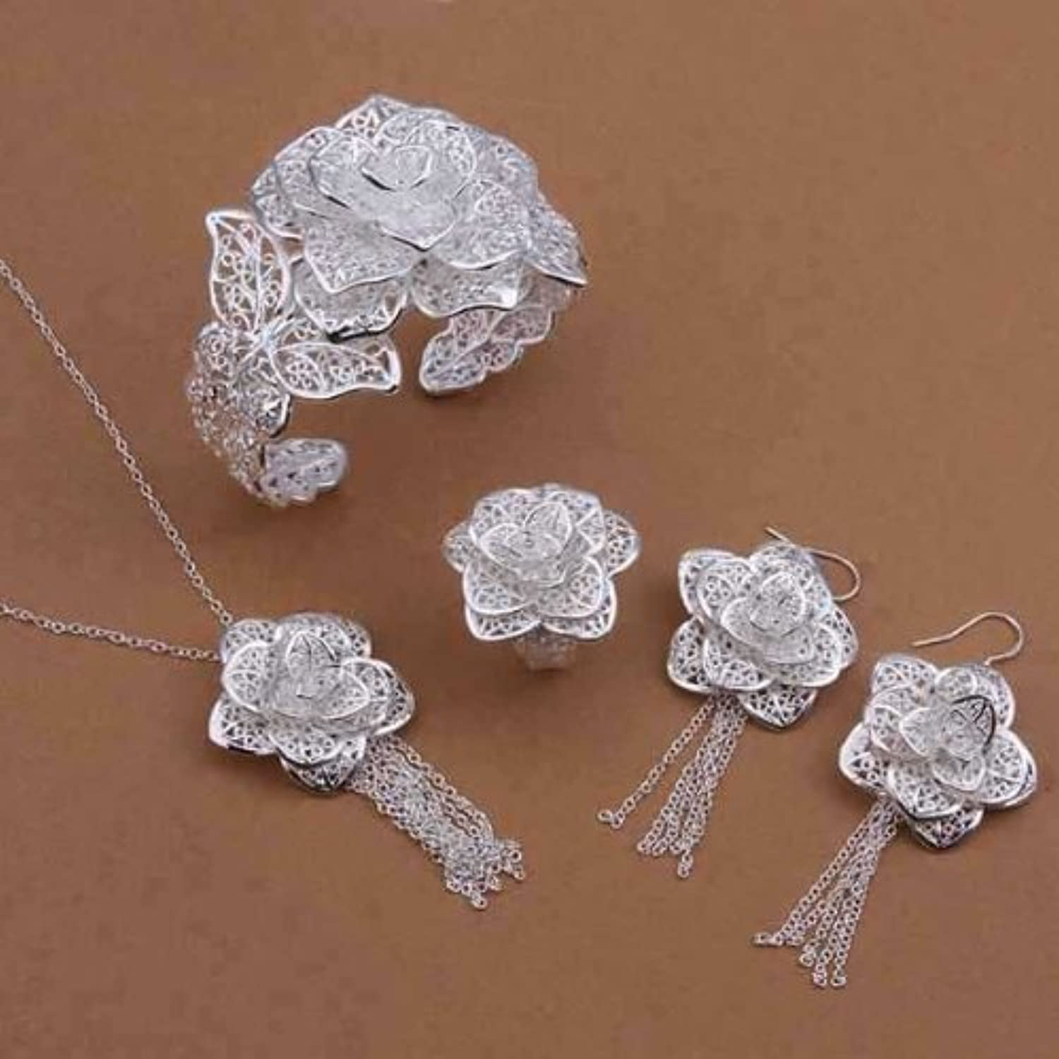 KDesign silver 925 , Flower Pendant Bracelet,Necklace,Ring And Earrings Silver Plated Bridal Sets S444
