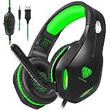 Auriculares para videojuegos con micrófono, auriculares profesionales de bajo ruido aislamiento sobr...