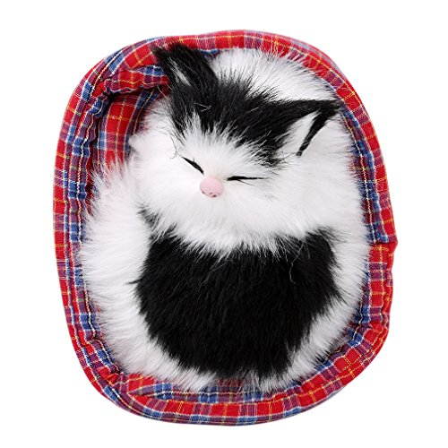OrliverHL Cute Simulation Crouching Cat Plush Toy with Nest Stuffed Animal Toy Gift for Home Desk Decor ,6#