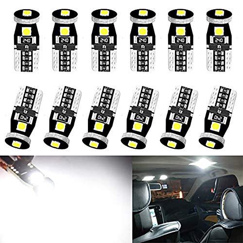 ALOPEE Pack de 12-194 168 2825 W5W T10 LED Ampoule 12V Blanc Extrêmement Lumineux 3030 3SMD LED Ampoules de Rechange Canbus sans Erreur pour la Carte de Dôme de Voiture Porte de Courtoisie