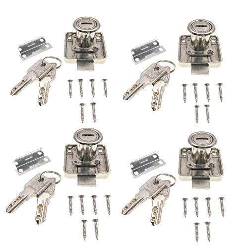 JZK 4 x Möbelschloß mit sind gleich Schlüsseln, Zylinder Möbelschloss Schubladenschloss Schrankschloss Aktenschranktürschloss