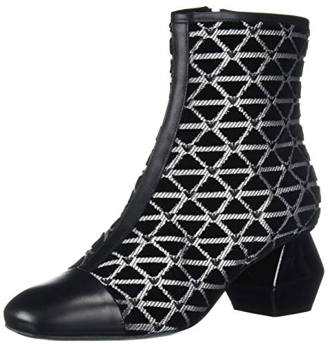 Emporio Armani Damen Ankle Boot Stiefelette, schwarz/Silber, 42 EU