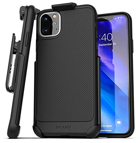 Encased iPhone 11 Pro Belt Clip Case (Thin Armor) Slim Grip Cover with Holster - Black