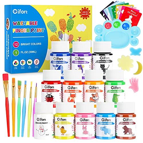 Gifort Pintura de Dedos, 12 x 30ML Pinturas Bebe No Toxicas Lavables, Juego de Pintura Dedos con Pinceles, Esponjas, Tarjetas y Paleta para Niños DIY Artes y Manualidades