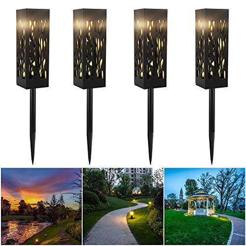 CPROSP 4-tlg. Solar-Gartenleuchte mit Erdspitze Warmweiße LED-Solarleuchten Garten-Solarlampe für dekorative Gartenleuchten im Freien für Gartenpatio-Bürgersteige Rasen