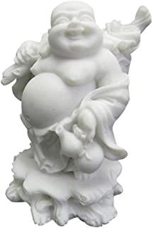 LINGS Laughing Buddha Statues,White Marble Stone Chinese Feng Shui Decor Sculptures Home Office Wealth Good Luck Prosperity Figurines,Hand Carved