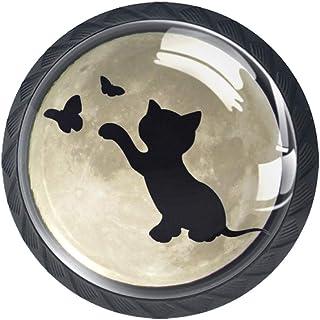 Moon Cat - Juego de 4 pomos de cocina de cristal ABS tiradores redondos para cajones y aparadores diseño de gato