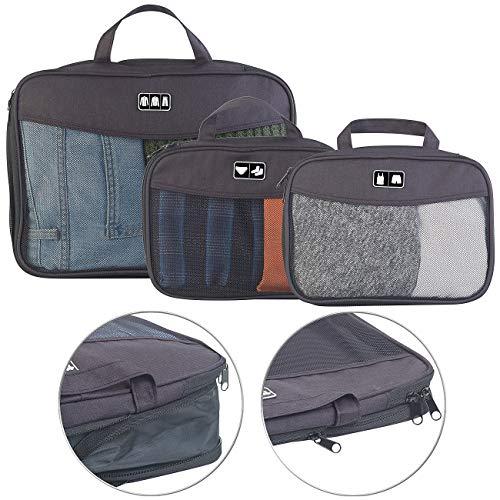 Semptec Urban Survival Technology Packwürfel: 3-teiliges Kompressions-Kleidertaschen-Set füs Reisegepäck, 2 Größen (Kofferorganizer)