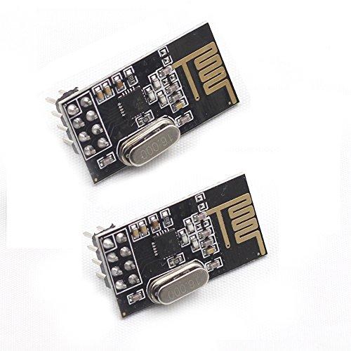 SunFounder 2pcs nRF24L01+ 2.4GHz Wireless Transceiver for Arduino UNO R3 Mega2560 Nano, Raspberry Pi