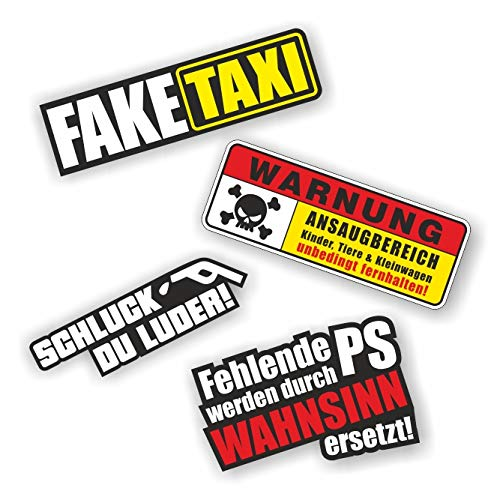 folien-zentrum 4 Aufkleber Set Shocker Hand Auto JDM Tuning OEM Dub Decal Stickerbomb Bombing Sticker Illest Dapper Fun Oldschool