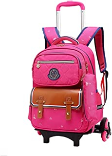 with Heightened Six Wheels Climbing Stairs Princess Cute Bookbag Rolling Wheeled Backpack for Girls Kids Xingsiyue Child Waterproof Trolley Bag