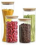 4 Tarros de Cristal con Tapa - Hermético - Con 4 Sellos de Repuesto - Apto para Lavavajillas - Cristal de Borosilicato