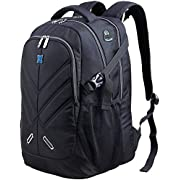 OUTJOY Backpack for Men Women Waterproof Shockproof Business Backpack Travel Work Bag Fit All 17.3 inch Laptops School College Daypack with 17.3 inch Padded Laptop Compartment with Rain Cover Black
