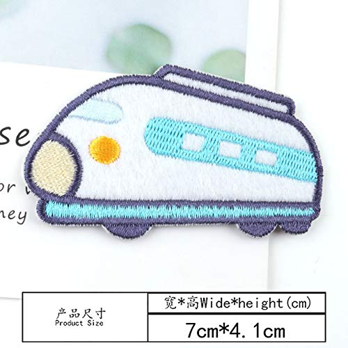 YFB Tuch Patch Patch Cartoon Auto Flugzeug Stoff Kleidung Reparatur Kleidung Jeans Patch Loch Stickerei Subvention Blume WWU (Bügeln Modell)