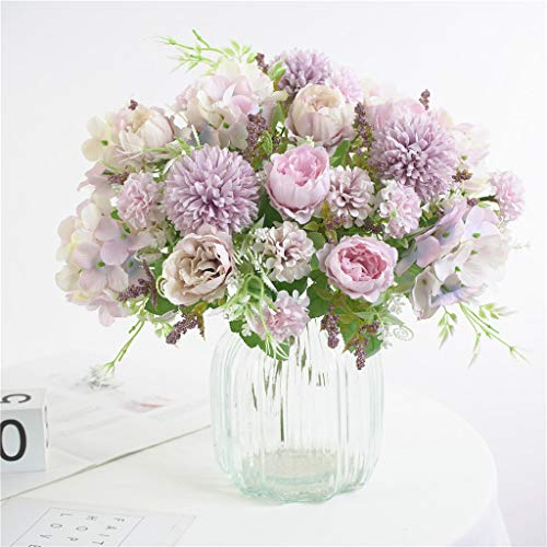 Hzaming - Bouquet di ortensie, piccole peonie, garofani, in seta, con rametti di plastica, decorazione realistica, fiori artificiali per matrimoni, centrotavola, 2 confezioni Viola chiaro
