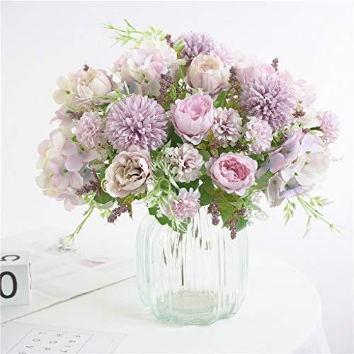 HZAMING - Ramo de flores artificiales pequeñas de seda para decoración de ramo de hortensias de flores realistas para bodas, centros de mesa, 2 paquetes