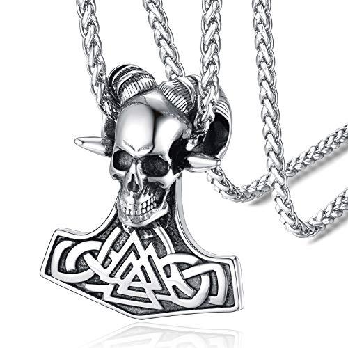 FaithHeart Martillo de Thor Mjolnir Cuerno de Cabra Cabeza Esqueleto Cráneo Collar Acero Inoxidable Plateado de Talismán Joyería Retro de Regalo