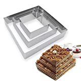 RAYNAG Set of 3 Square Mousse Cake Rings Cookie Cutters Stainless Steel Baking Molds, Extra Large 6in, 8in, 10in Pancake Molds, Biscuit Pastry Ring, Pie Dough Cutter