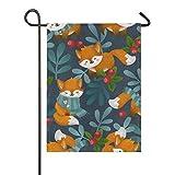 lovely baby-Z Niedliche Winterwald-Tier-Fahne mit Fuchs und Füchsen aus Jute, doppelseitig, für Haus und Hof, Flagge, Urlaub, saisonal, Outdoor-Dekoration, 30,5 x 45,7 cm