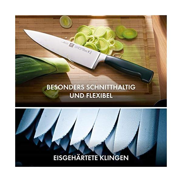 ZWILLING Bloque de cuchillos auto-afilables, 7 piezas, bloque de madera, cuchillos y tijeras con mango especial de acero…