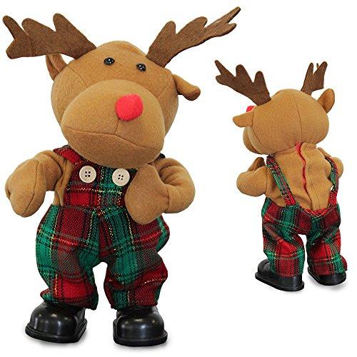 [lux.pro] Singendes & Tanzendes Rentier 30cm Weihnachts Deko Weihnachten Stoffigur Elch
