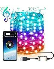 ADJU LED String Lights, kerstboom LED String Lights, Multi Color Changing Flexibele Licht USB Aangedreven, Smart App Controlled Fairy Tree Light met Muziek, voor Kerst Decor