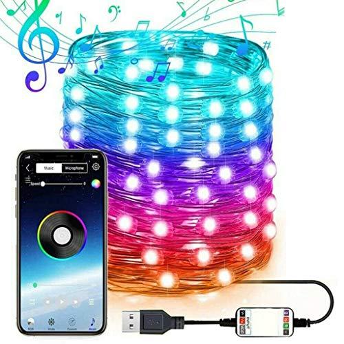 Cadena de luz de cuento de hadas alimentada por USB, luz LED RGB que cambia de color con temporizador de música sincronizada con la aplicación, luz navideña inteligente, luz de cielo estrellado