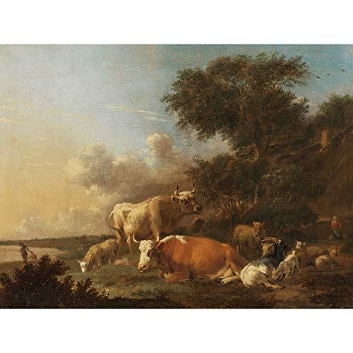 Klomp landschap met vee grote XL muur kunst canvas print