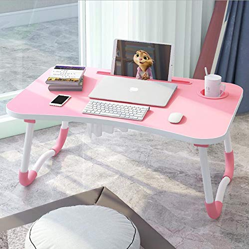 Laptop Bed Tray Desk, Foldable Lap Desk Table Stand, Multifunction Lap Tablet with Ipad and Cup Holder Perfect for Eating Breakfast, Reading Book, Working,Watching Movie on Bed/Couch/Sofa/Floor