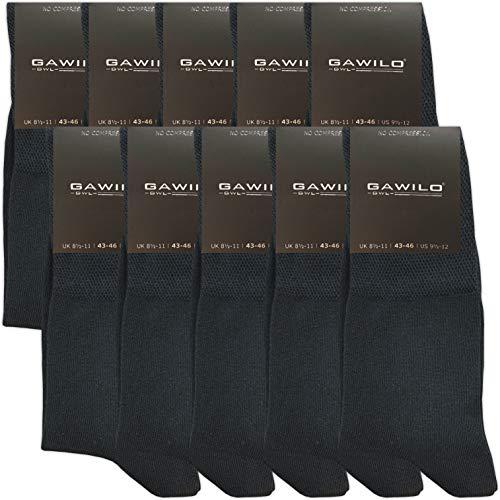 GAWILO 10 Paar PREMIUM Socken ohne drückende Naht | Damen und Herren | gekämmte Baumwolle | Komfortb& | Diabetiker geeignet (35-38, schwarz)