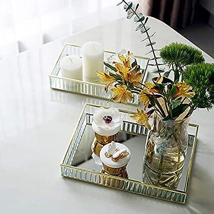 SZVVI Bandeja de espejo de cristal negro borde de metal rojo vino placa decoración bandeja de almacenamiento herramientas para decoración del hogar